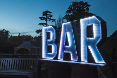 Illuminated BAR letters for your party! hire it from Rock the Day, Essex