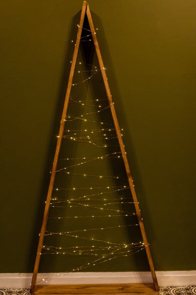 Handmade Christmas Tree for hire with set of fairy lights - Rock the Day | Christmas decorations hire | bespoke christmas props | London, Essex, Hertfordshire
