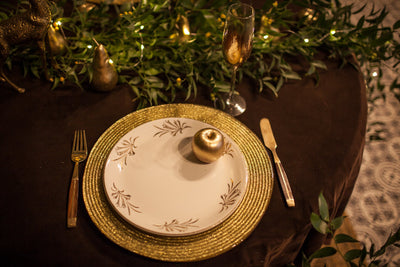 Golden Charger Plates for hire. Photoshoot props, wedding hire Essex, London, Hertfordshire