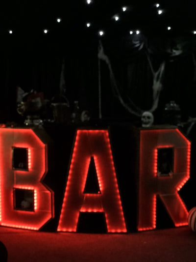 Bar sign illuminated and battery operated hired for any event