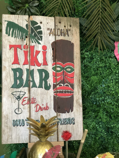 Tiki bar sign for tropical theme party or event