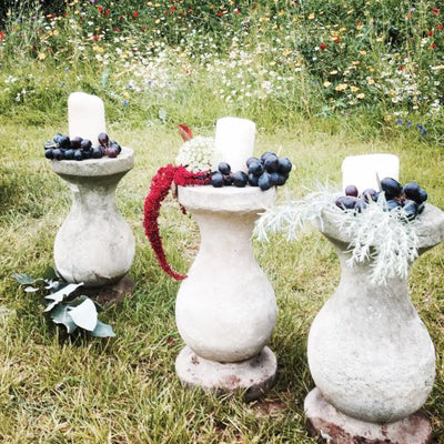 Hire rustic plinths to create a perfect ceremony aisle. Wedding hire Essex