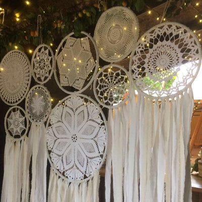Handmade dreamcatchers Backdrop. Bohemian style party decor. Perfect for photoshoot, branding shoots or retail display. For hire in Essex, Hertfordshire, London