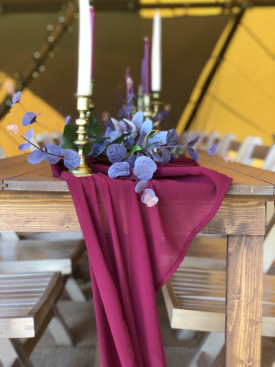 Burgundy table runner for autumnal table decor | Rock the Day | table and chair decor  | event prop hire | evenue decor | Essex