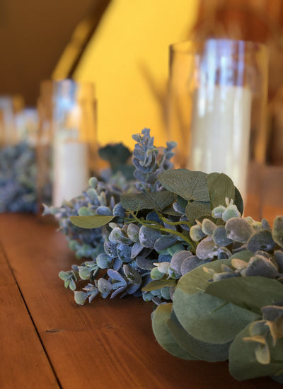 Faux Eucalyptus garland for hire as party decor or photoshoot prop | table and chair decor London | bespoke prop hire Rock The Day | Essex, London, Hertfordshire