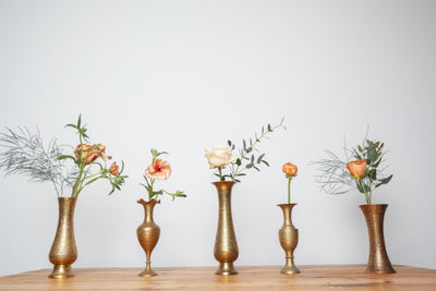Brass vases for hire as table decor for any party, Rock the Day, Essex
