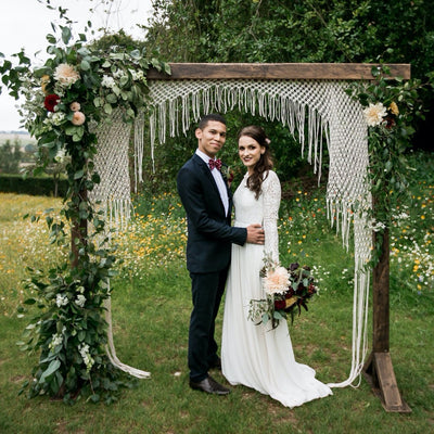 Wooden Arch with Shaped Macrame Backdrop | Rock the Day Wedding Styling