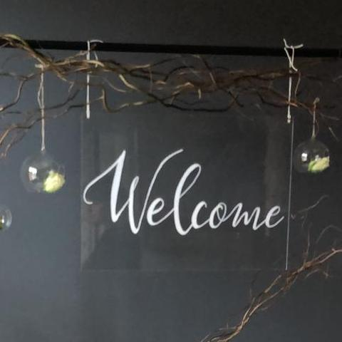 Perspex WELCOME sign