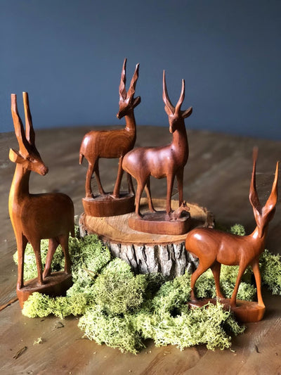 Wooden carved animals | prop and decor hire London| party styling | Rock the day | Essex, London, Hertfordshire