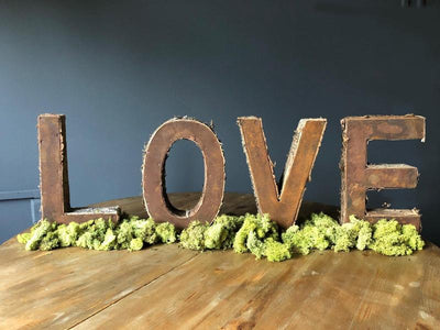 Rustic LOVE letters. Wedding hire Essex
