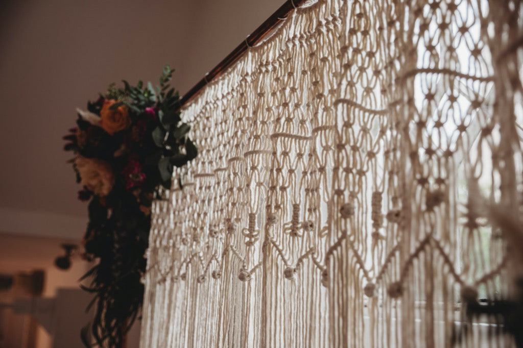 Large Copper Stand & Handmade Macrame Backdrop