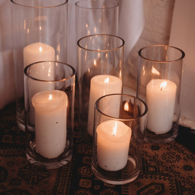 Glass cylinders | candleholders. Essex prop hire | table and chair deecor | photoshoot props | event hire