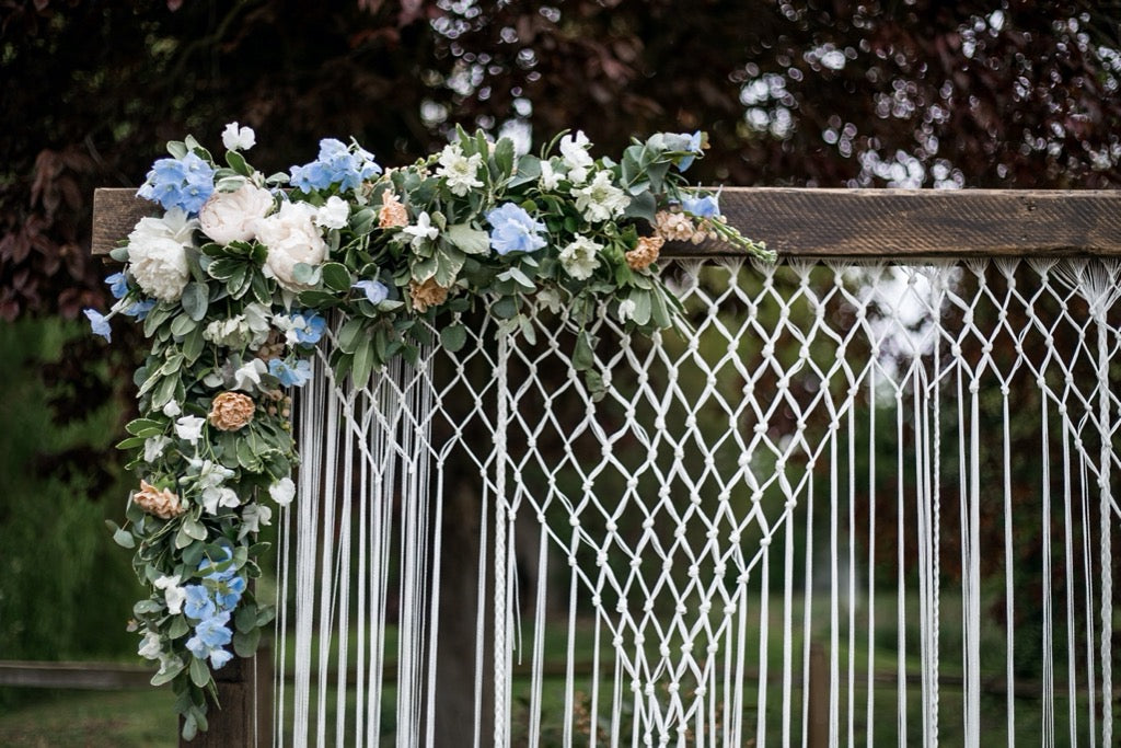 Wooden Arch with Macrame Backdrop | Rock the Day Wedding Styling