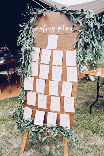 Handmade seating plan for hire. Essex wedding hire, prop hire, party props-Rock The Day Essex