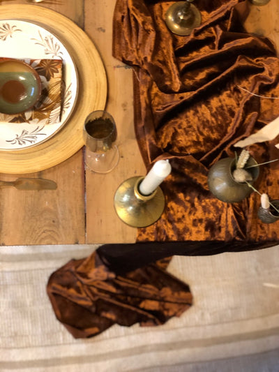 Crushed velvet in brown - table runner for hire from Rock the Day, Essex