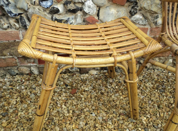Bohemian style bamboo/cane small table/stool