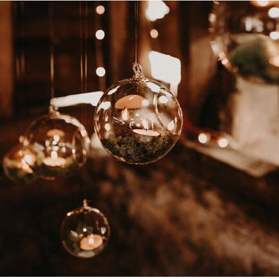 Glass hanging globes/candles holders for hire. Rock The Day | props to hire | Essex, London, Hertfordshire