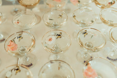 Babycham glasses for hire by Rock the Day in Essex- party hire, weddding hire Essex,