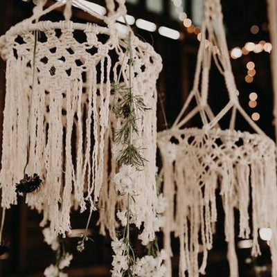 Macrame hanging decor for hire by Rock the Day. Essex, London, Hertfoedshire
