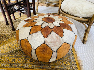 Leather moroccan pouffe for hire | Rock the Day Essex | wedding hire, prop hire, event prop hire, venue decor Essex, London