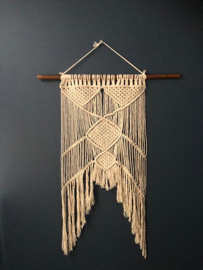 Natural Macramé Wall Hanging. Prop hire/ visual merchandising Essex, London, Suffolk