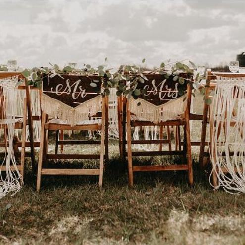 Mr & Mrs Rustic Wooden Chair Backs