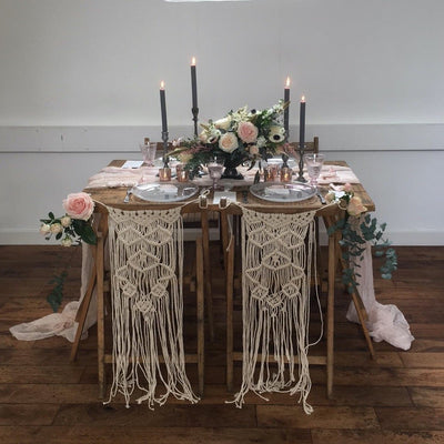 Macrame top table chair decor for hire