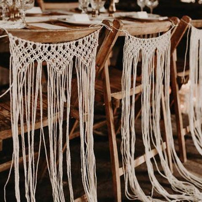Bohemian style macrame chair decor for hire