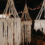 Macrame hanging hoops - set of 3 white
