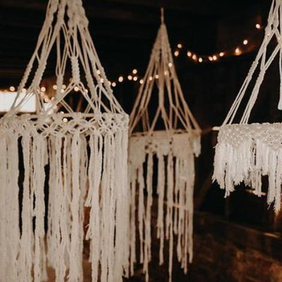 Macrame hoops hanging decor for hire by Rock the Day in Essex