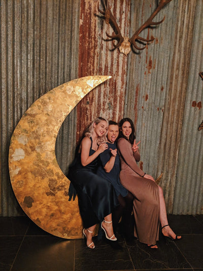 Bespoke Moon Backdrop. Photobooth, photo backrdop, wedding and event hire, bespoke props, backdrop hire | Rock The Day