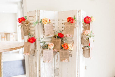 Vintage French Wooden Shutter as a table plan. Available for hire for wedding or party. Can be personalised with table numbers/flowers etc but this service is extra.