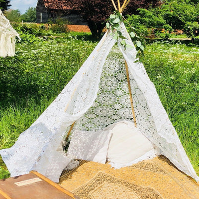 Rock the Day, Essex - Lace tepee as a part of chill out set up - available to hire