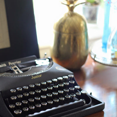 Vintage typewriter for hire Rock The Day Essex prop hire | party hire | event hire | event stylingx