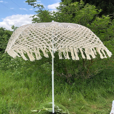 Handmade Macramé Parasol for hire/Essex event hire