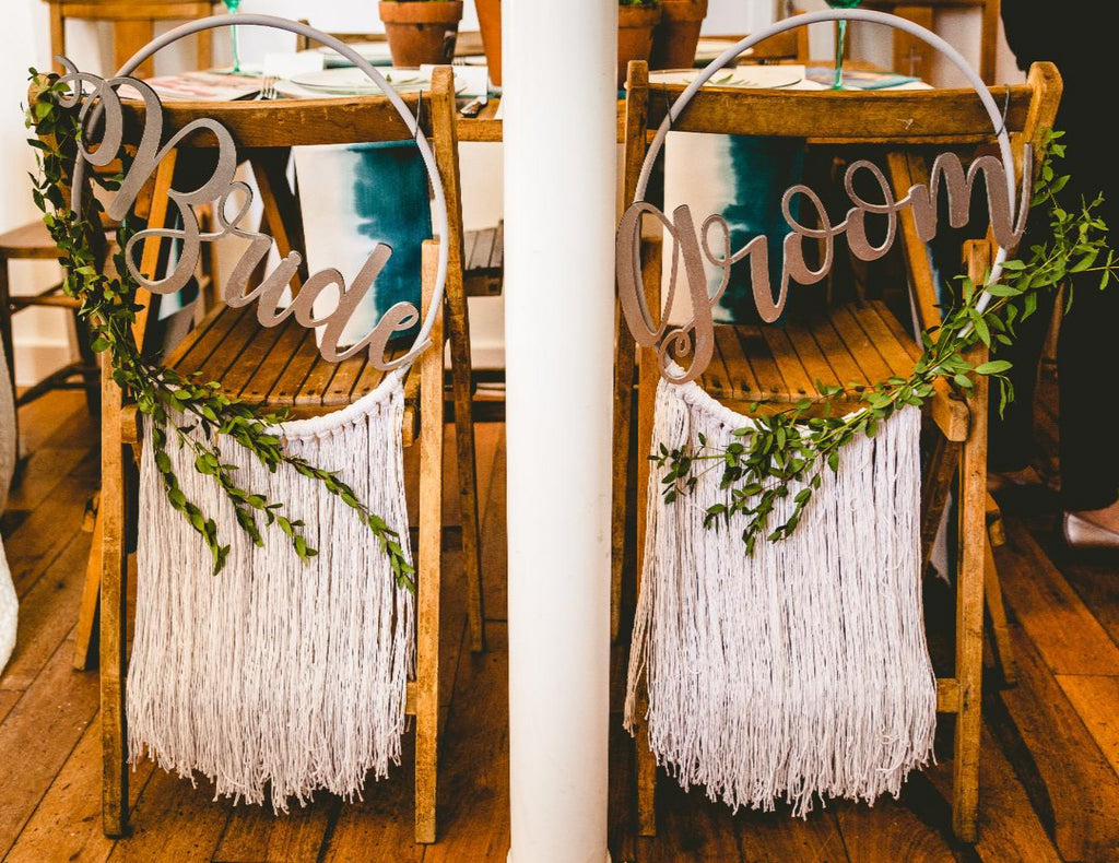 'Bride & Groom' Hooped Fringed Chair Backs