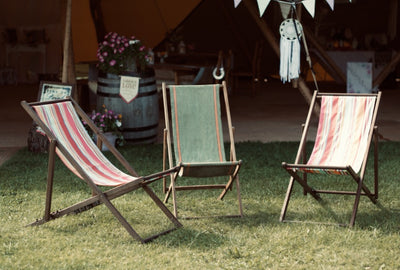 Vintage deck chairs for hire by Rock the Day in Essex