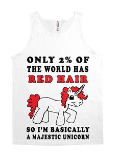 Red Hair Majestic Unicorn Reg Tee-JH