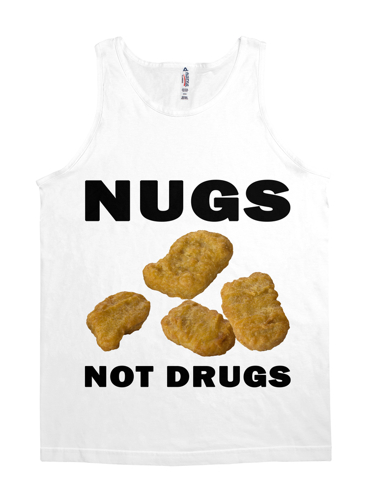 Chicken Nuggets-Nugs Not Drugs Wht Tank Top-Jh