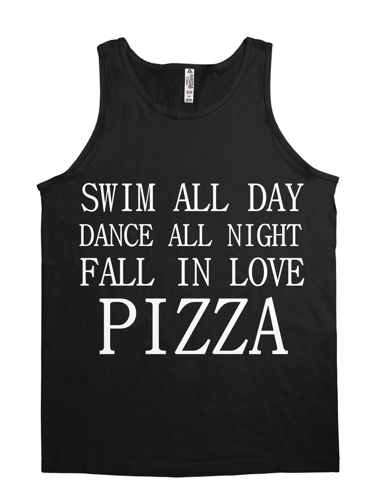 SWIM ALL DAY DANCE ALL NIGHT FALL IN LOVE PIZZA RACERBACK