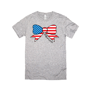 america fourth of july bow white tank top-JH