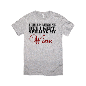 i tried running but i kept spilling my wine racerback