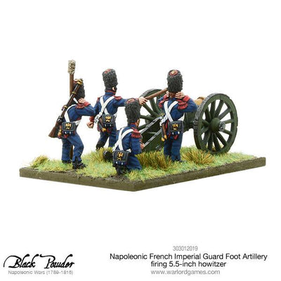 Napoleonic French Imperial Guard Foot Artillery firing howitzer