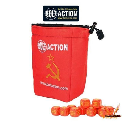Bolt Action Soviet Dice Bag & Order Dice (Red) - Monsieur Miniatures