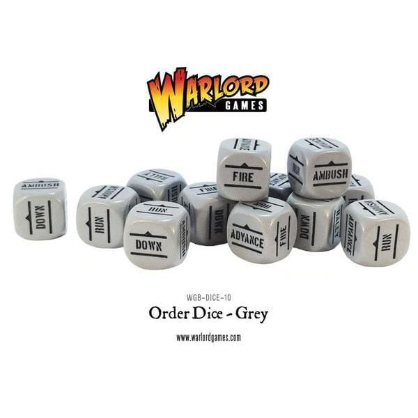 Bolt Action German Army Dice Bag & Order Dice (Grey) - Monsieur Miniatures
