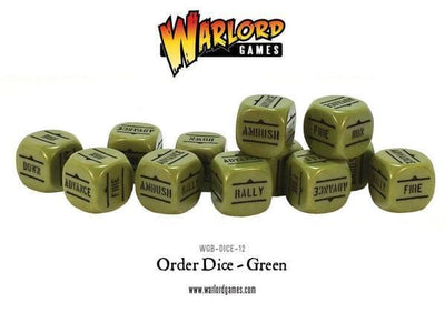 Bolt Action Allied Star Dice Bag & Order Dice (Green) - Monsieur Miniatures