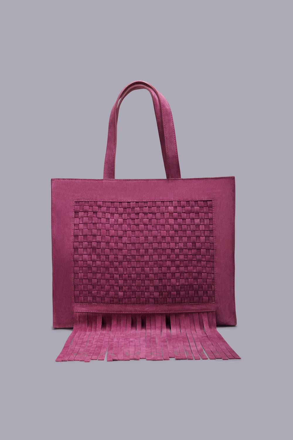 Lujan Hand-Braided Shopper Bag in Fuchsia