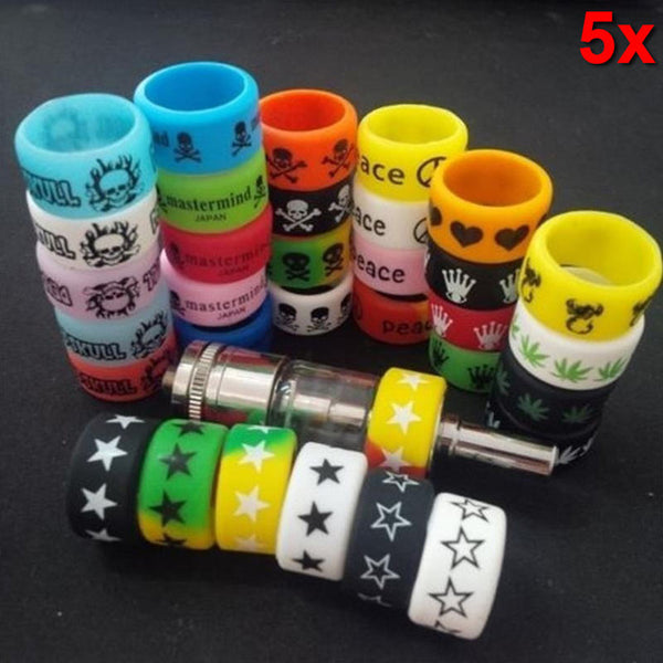 5PCS Cool Punk Rock Silicone Rings (Random Color )