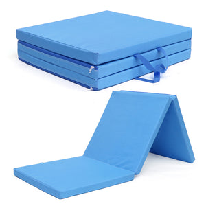 Blu Tri Folding Exercise Thick Mat Training Workout Padded Non Slip