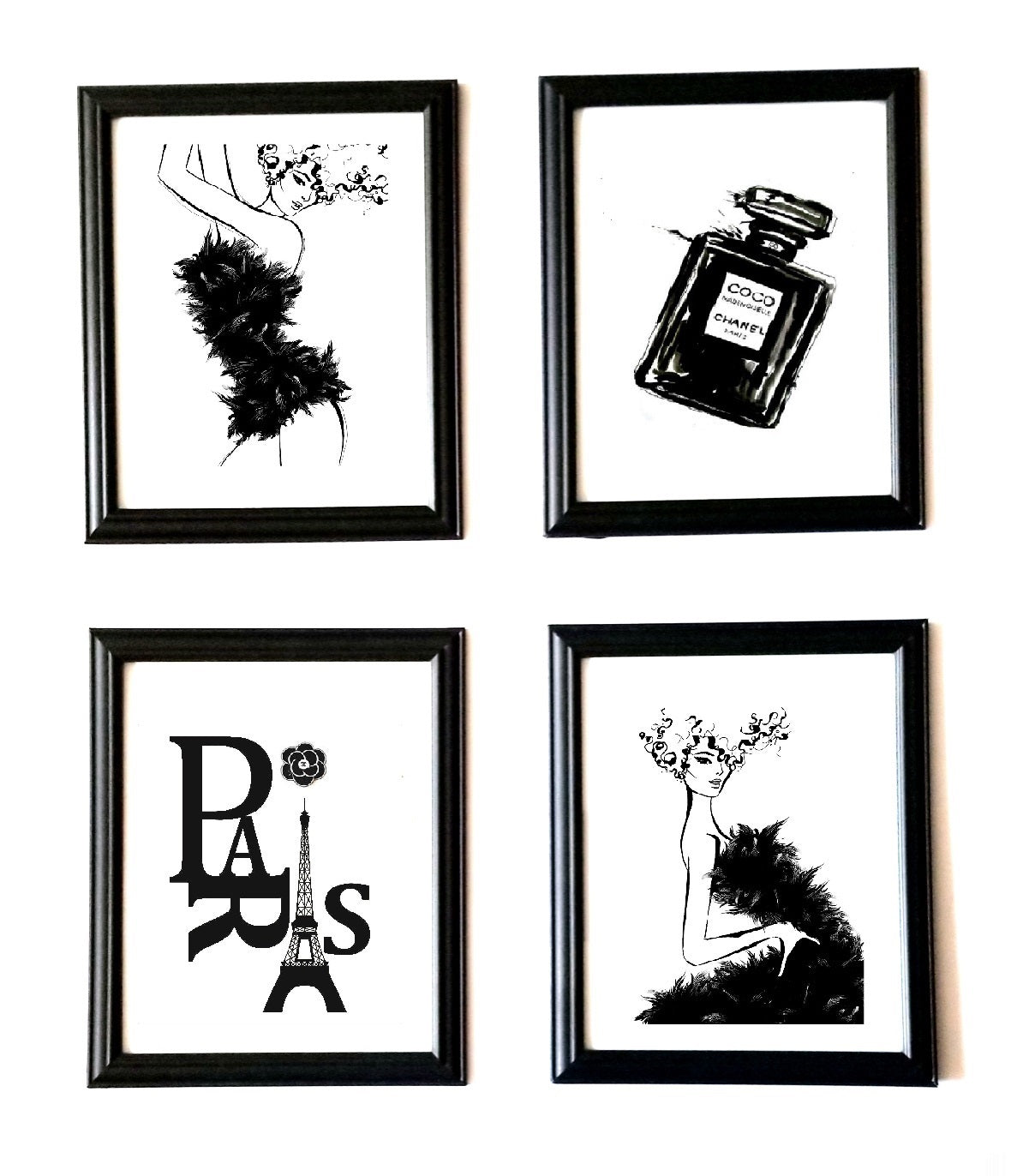 Black and White Chanel Prints Framed Art Set Chanel Room Decor ...